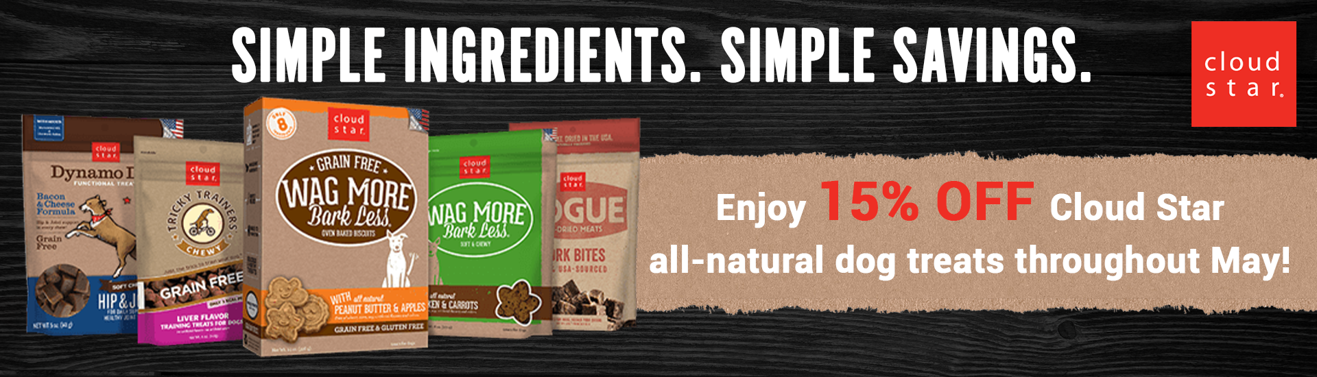 Enjoy 15% off CloudStar all-natural dog treats throughout the month of May.
