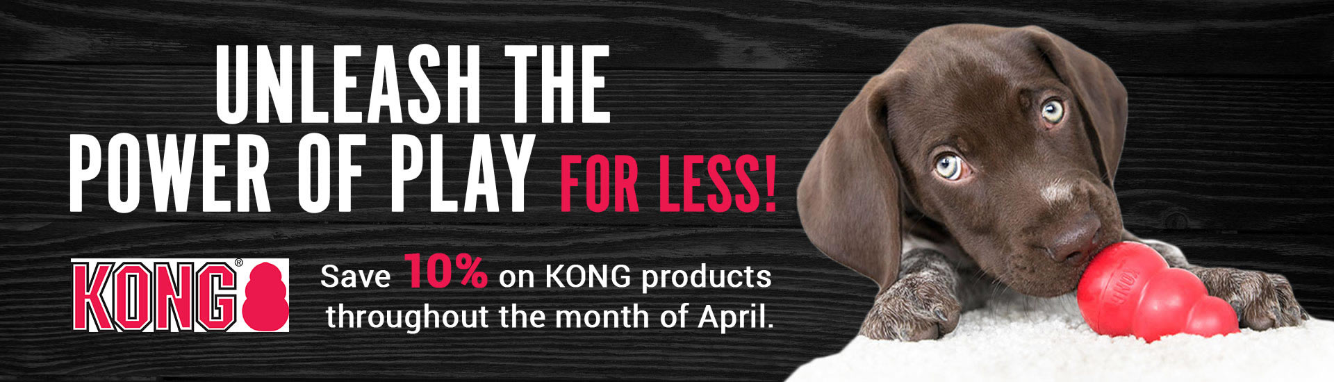 Save 10% on KONG products throughout the month of April.